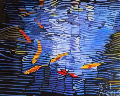 """картина масло холст Абстракция маслом """"Золотые рыбки"""", Лия Гомеш, LegacyArt"""