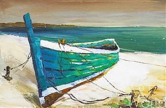 """Картина маслом """"Лодка на песчаном берегу"""""""