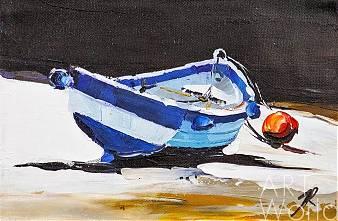 """Картина маслом """"Лодка. На средиземноморском побережье"""""""