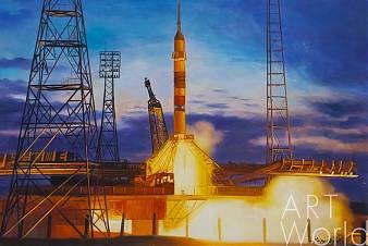 """Картина маслом """"Запуск ракеты"""""""