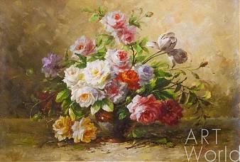 """Букет цветов маслом - Натюрморт маслом """"Букет роз в стиле модерн N3"""""""