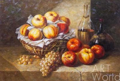 "картина масло холст Натюрморт маслом ""Натюрморт с вином и виноградом"", Савелий Камский, LegacyArt"