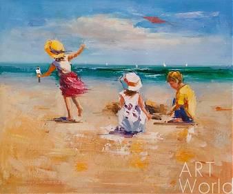 """Пейзаж маслом """"Дети и море. N1"""""""