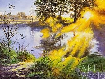 """Картина маслом """"Рассвет над рекой"""""""