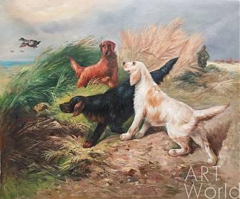 """Картина маслом """"Зарисовки охотника. Сеттеры на охоте"""""""