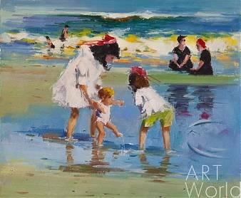 """картина масло холст Пейзаж маслом """"Дети на морском берегу. Первые шаги"""", Савелий Камский, LegacyArt"""