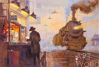 """Картина маслом """"На перроне в ожидании поезда"""""""