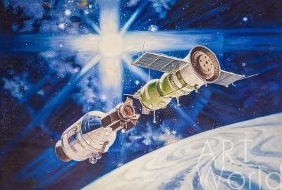 """картина масло холст Копия картины Роберта МакКолла """"Рукопожатие в космосе"""" (автор копии Савелий Камский), Камский Савелий, LegacyArt"""