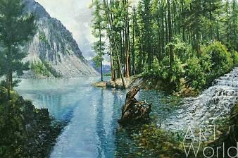 """картина масло холст Пейзаж маслом """"В самом сердце Алтая меж высоких гор…Телецкое озеро"""", Савелий Камский, LegacyArt"""