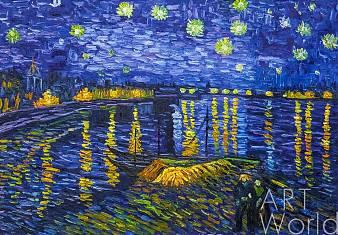 """Копия картины Ван Гога """"Звездная ночь над Роной"""" (копия Анджея Влодарчика)"""