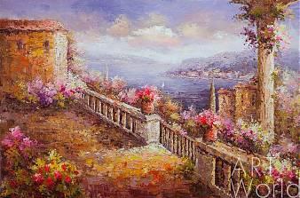 """картина масло холст Пейзаж маслом """"Средиземноморье в импрессионистских тонах N2"""", Картины в интерьер, LegacyArt"""