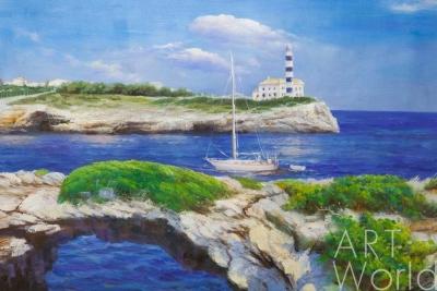 картина масло холст Картина маслом «Морская прогулка у маяка», Дарья Лагно, LegacyArt