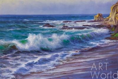 картина масло холст Морской пейзаж «Прибрежные волны», Дарья Лагно, LegacyArt
