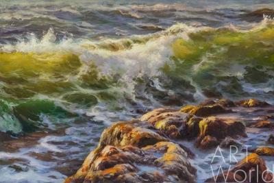 """картина масло холст Морской пейзаж маслом """"В море пенном..."""", Лагно Дарья, LegacyArt"""