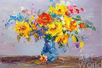 """картина масло холст Картина маслом """"Разноцветный букет с желтыми розами N1"""", Лия Гомеш, LegacyArt"""