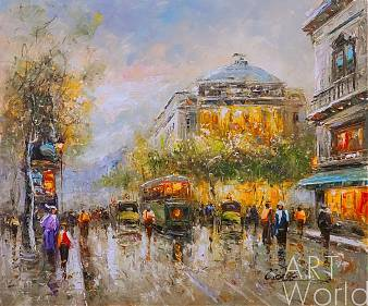 "Пейзаж Парижа Антуана Бланшара ""Early evening in Paris"", копия Кристины Виверс"