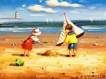 картина масло холст Дети на пляже (NP2), Мария Потапова, LegacyArt