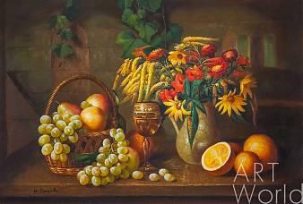 """картина масло холст Картина маслом """"Натюрморт с осенними цветами, виноградом и апельсинами"""", Мария Потапова, LegacyArt"""