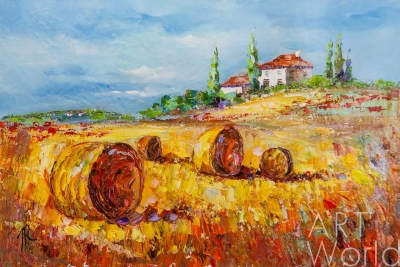 "картина масло холст Пейзаж маслом ""Средиземноморье. Жаркий август"", Родригес Хосе, LegacyArt"