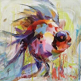 """Картина маслом """"Золотая рыбка для исполнения желаний. N7"""""""