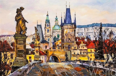 "картина масло холст Картина маслом ""Карлов мост. Легенды старой Праги"", Родригес Хосе, LegacyArt"