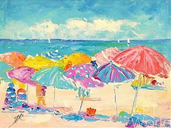 """Картина маслом """"Летние истории. Разноцветные зонтики"""""""