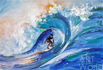 "картина масло холст Картина маслом ""Серфинг на больших волнах"", Родригес Хосе, LegacyArt"