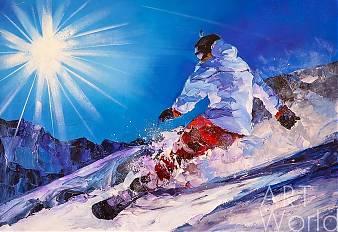 """Картина маслом """"Сноубордист. Жажда скорости"""""""