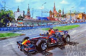 """картина масло холст Картина маслом """"Формула-1. Гонки на Красной площади"""", Хосе Родригес, LegacyArt"""