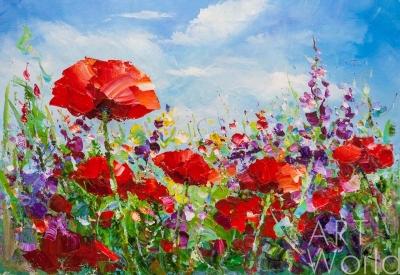 """картина масло холст Пейзаж маслом """"Маковое поле на фоне неба"""", Родригес Хосе, LegacyArt"""