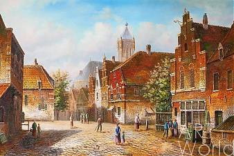 "картина масло холст Голландский пейзаж ""Старая голландская улица. Подражая Виллему Куккуку. N7"", Александр Ромм, LegacyArt"