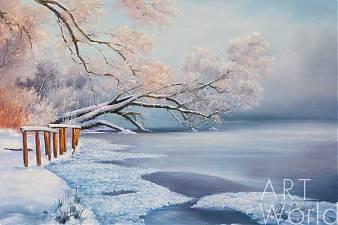 """Картина маслом """"Деревья в инее над рекой"""""""