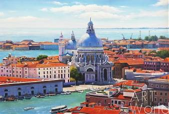 """Картина маслом """"Венеция с высоты птичьего полета"""""""