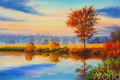 "картина масло холст Осенний пейзаж маслом ""Закат. Ступая тихо солнцу вслед…"", Александр Ромм, LegacyArt"