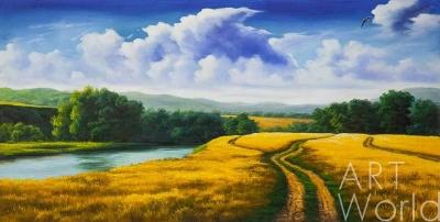 """картина масло холст Пейзаж маслом """"Нива золотая, небо голубое..."""", Ромм Александр, LegacyArt"""