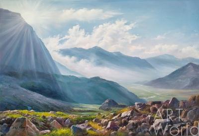 """картина масло холст Пейзаж маслом """"Среди горных вершин, где струится река..."""", Ромм Александр, LegacyArt"""
