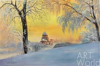 """Пейзаж маслом """"Утром ранним на рассвете... В Муринском парке, Санкт-Петербург"""""""