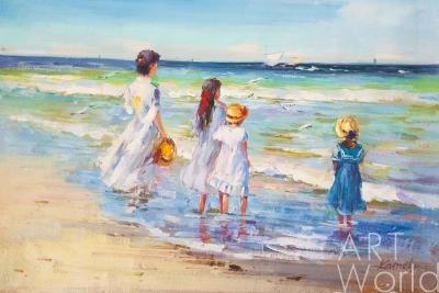 """картина масло холст Картина маслом """"Дети на морском берегу. Провожая в плавание"""", Камский Савелий, LegacyArt"""