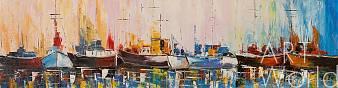 "картина масло холст Пейзаж маслом ""Лодки N8. Серия ""Морская разноцветная"", Кристина Виверс, LegacyArt"
