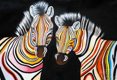 """картина масло холст Картина маслом """"Разноцветные зебры N12"""", Кристина Виверс, LegacyArt"""