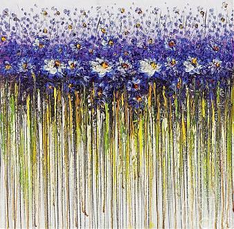 """картина масло холст Картина маслом """"Синие цветы. Абстракция"""", Анджей Влодарчик, LegacyArt"""