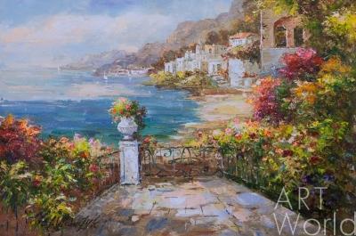 """картина масло холст Средиземноморский пейзаж маслом """"Вид на море с балкона N2"""", Анджей Влодарчик, LegacyArt"""